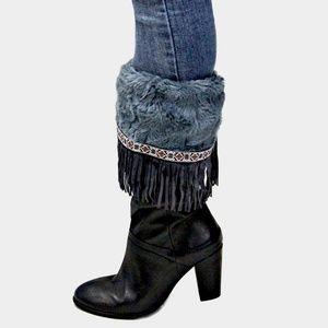 Gray Suede Fringe Fur Leg Warmer Boot Topper